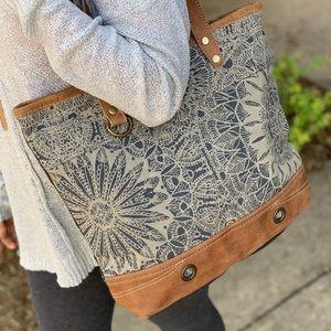 Handbags - OBJET D'ART LEATHER STRIP TOTE BAG